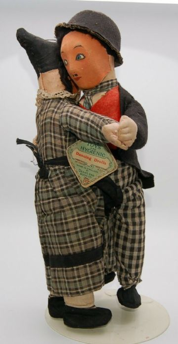 RARE- Deans Charlie Chaplin & Auntie Dancing Drolls -Old Antique Doll Bear Teddy